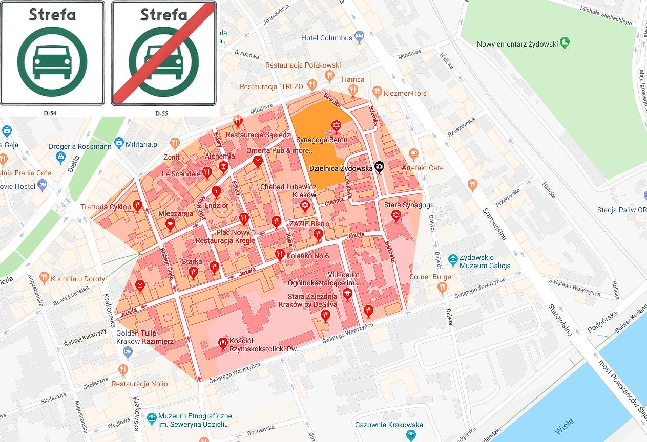 Krakow Ze Strefa Czystego Transportu Na Kazimierzu Mapa